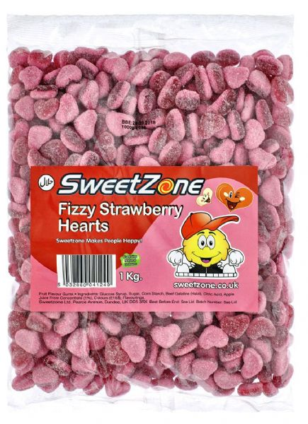 SweetZone Fizzy Strawberry Hearts 1kg Bag